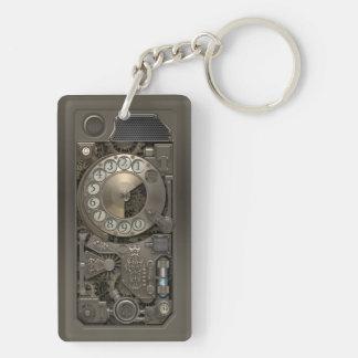 Dispositivo de Steampunk - teléfono de dial Llavero Rectangular Acrílico A Doble Cara