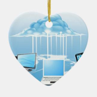 Dispositivos conectados con la nube adorno de cerámica en forma de corazón