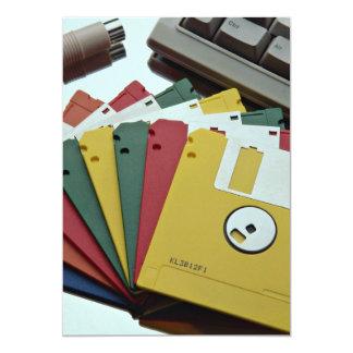 Disquetes y teclado hermosos invitación 12,7 x 17,8 cm