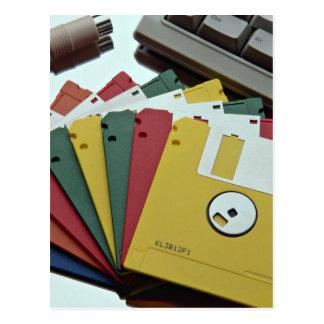 Disquetes y teclado hermosos postales