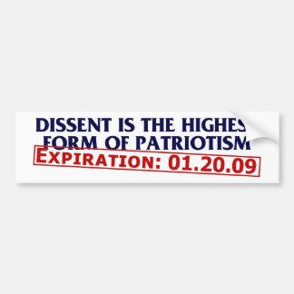 Dissent (expired 01.20.09) bumper sticker