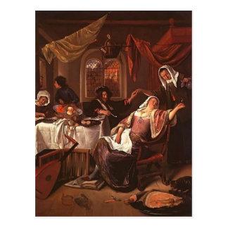 Dissolute Household by Jan Steen Postcard