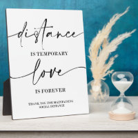Distance  wedding sign Tabletop Plaque with Easel