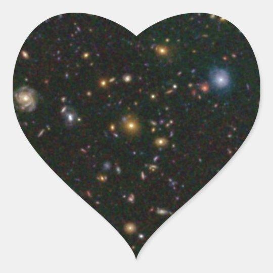 Distant Galaxy Bursts with Stars Heart Sticker
