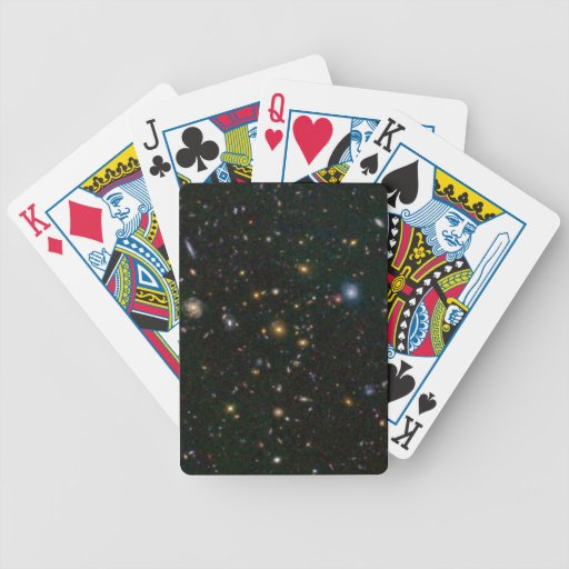 Distant Galaxy Bursts with Stars Playing Cards