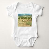 Distant horses baby bodysuit