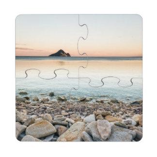 Distant island puzzle coaster