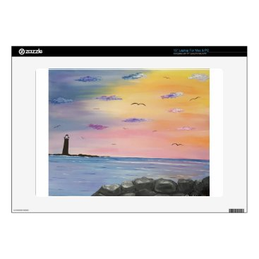 "Beach Themed Distant Lighthouse Skins For 15"" Laptops"