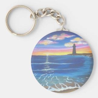 Distant Lighthouse Sunset Keychain