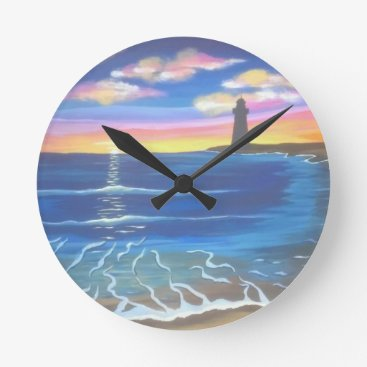 Distant Lighthouse Sunset Round Clock