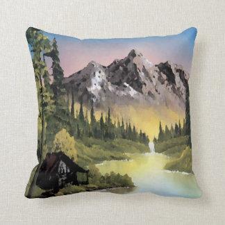 Distant Mountains Autumn Sunset Throw Pillows