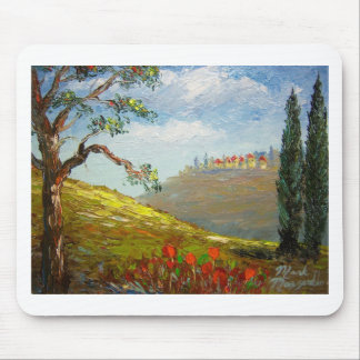 Distant Tuscany Hillside Town Mouse Pad