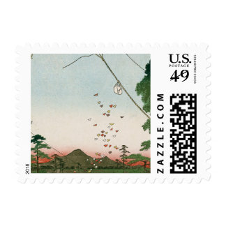 Distant view of Akiba of Enshu, kites of Fukuroi Postage
