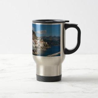 Distant view of Atrani on Amalfi coast 15 Oz Stainless Steel Travel Mug