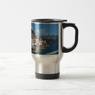 Distant view of Atrani on Amalfi coast Travel Mug