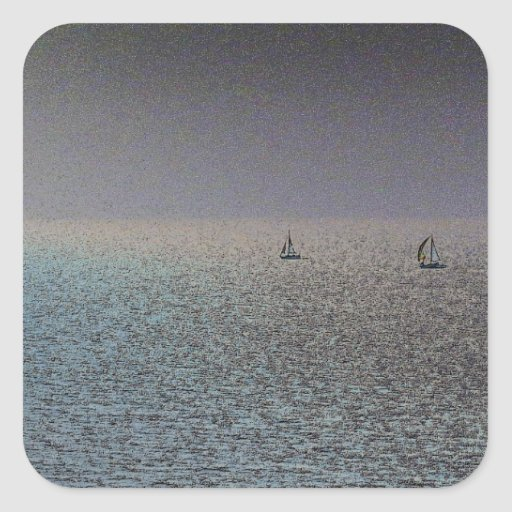 Distant Yachts Square Sticker