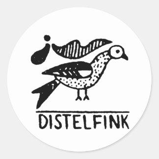 distelfink vintage jagged animal design.png round stickers
