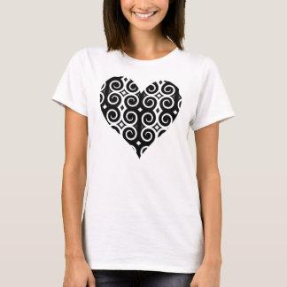 Distinctive Black Swirls Heart T-Shirt