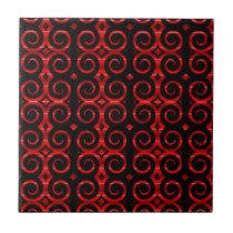 Distinctive Black Swirls (On Red) Ceramic Tile