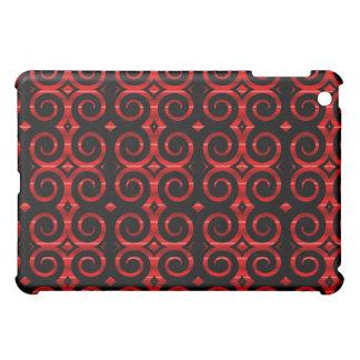 Distinctive Black Swirls (On Red) iPad Mini Case