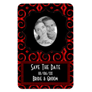 Distinctive Black Swirls (On Red)  (Save The Date) Rectangular Photo Magnet