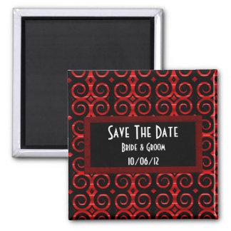Distinctive Black Swirls (On Red) (Wedding) Magnet