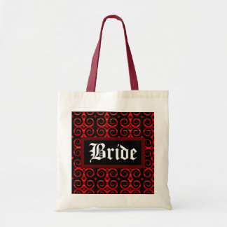 Distinctive Black Swirls (On Red) (Wedding) Tote Bag