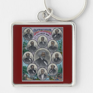 Distinguished Colored Men Silver-Colored Square Keychain