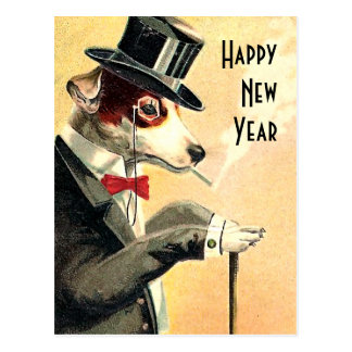 Distinguished Dog New Year Wishes Postcard