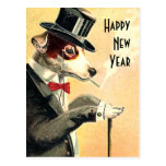 Distinguished Dog New Year Wishes Postcards