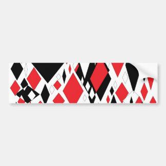 Distorted Diamonds in Black & Red Bumper Sticker