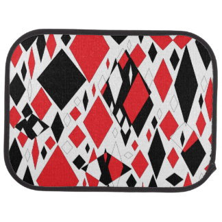 Distorted Diamonds in Black & Red Car Mat