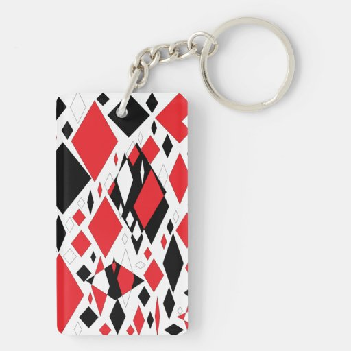 Distorted Diamonds in Black & Red Rectangular Acrylic Key Chains