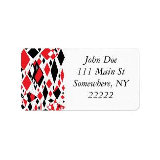 Distorted Diamonds in Black Red Custom Address Label