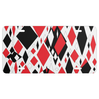 Distorted Diamonds in Black & Red License Plate