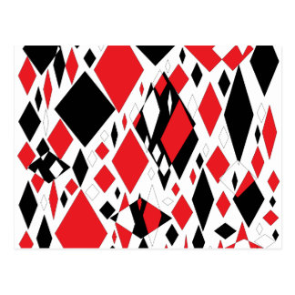 Distorted Diamonds in Black & Red Postcard