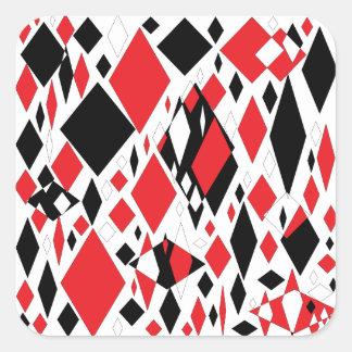 Distorted Diamonds in Black & Red Square Sticker