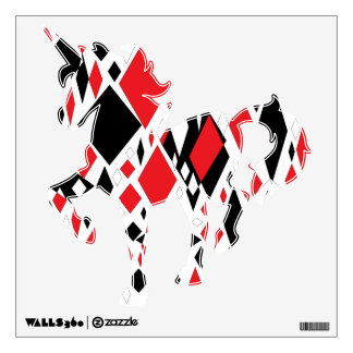 Distorted Diamonds in Black & Red Wall Graphic