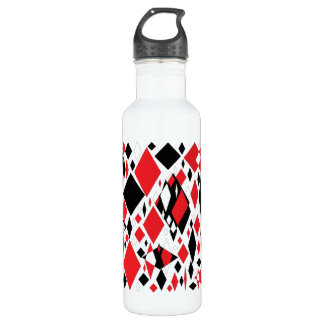 Distorted Diamonds in Black & Red Water Bottle