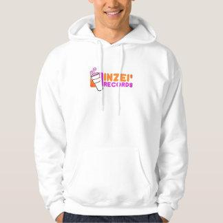distorted inzei records logo white hoodie