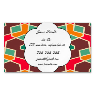 Distorted shapes in retro colors pattern magnetic business card