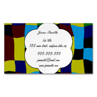 Distorted squares in retro colors magnetic business card