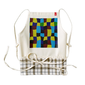 Distorted squares in retro colors zazzle HEART apron