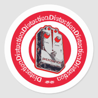 Distortion Pedal Red White Black Classic Round Sticker