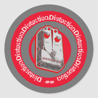 Distortion Pedal Red White Grey Classic Round Sticker