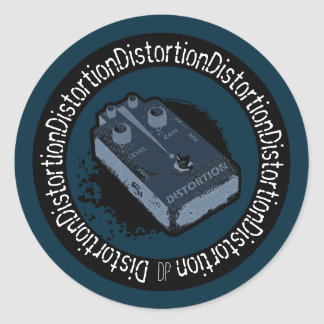 Distortion Pedal Two Tone Blue Classic Round Sticker