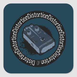 Distortion Pedal Two Tone Blue Square Sticker