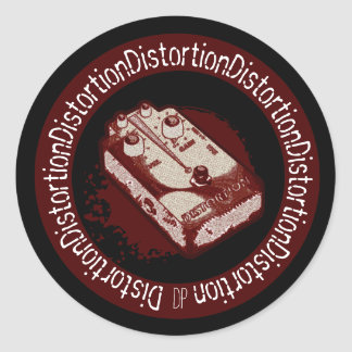 Distortion Pedal Two Tone Red & White Classic Round Sticker