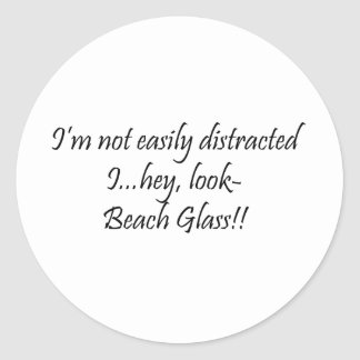 Distracted By Beach Glass Classic Round Sticker
