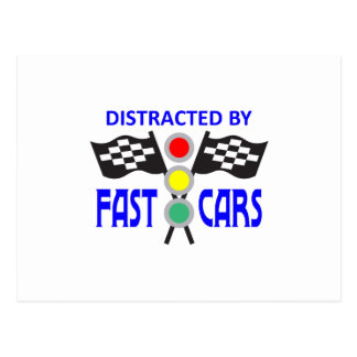 DISTRACTED BY FAST CARS POST CARD